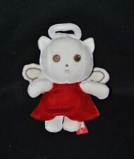 Peluche doudou chat ange ORCHESTRA blanc robe rouge en velours 19 cm NEUF
