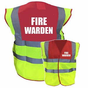 Red / Yellow Two ToneHi Vis Safety Vest / WaistcoatPre Printed Fire Warden
