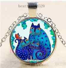 Three Blue Cat Photo Cabochon Glass Dome Silver Chain Pendant Necklace