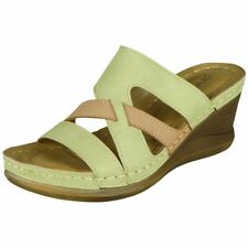 Ladies Wedge Sandals Womens Light Weight High Heel Slip On Comfy New Shoes Size