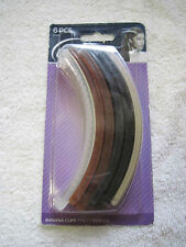 "6 Goody 5"" Plastic Shelli Banana Clips Hair Updo Frosted Black Brown Tortoise"