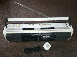 SHARP WQ-268E Portable Stereo Radio Twin Cassette Recorder Boombox 1980s Retro