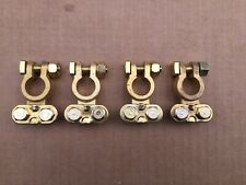 4x SOLID BRASS TOP POST BATTERY CABLE WIRE GOLD TERMINALS