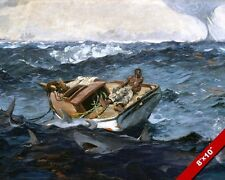 GULF STREAM MAN AGAINST PERILS OF THE SEA PAINTING W HOMER ART REAL CANVAS PRINT