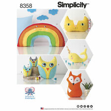 Simplicity SEWING PATTERN 8358 Stuffed Toy Fox,Cat,Narwhal,Owls,Rainbow