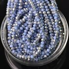 200pcs 4x3mm Rondelle Faceted Crystal Glass Loose Beads Silver&Opaque Lt Blue