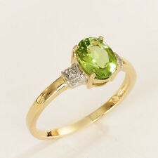 NATURAL PERIDOT RING GENUINE DIAMONDS 9K 375 9CT GOLD SIZE P COMES IN A BOX NEW