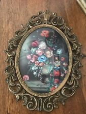 Vintage Victorian Brass Metal Oval Ornate Picture Frame Made In Italy(flower pic
