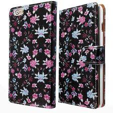 Negro Rosa Flor Apple Iphone 6G 4.7 PU Cuero Sintético Cartera Funda Impresa