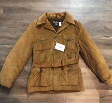 Nwt Nos Vtg 60's Salem Sportswear Corduroy Belted Jacket Coat Fur Lined Womens S