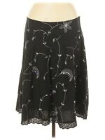 Fashion Bug Women's Skirt Size Medium Black Embroidered Sequins Beads Pleated