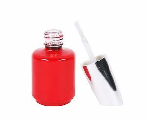 100x UV-Lack *Leerflasche* Rot mit silbernen Deckel und schwarzem Pinsel 51029