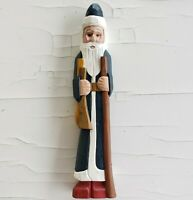 """Folk Art Wood Block Carved Santa Claus Father Christmas 10"""" Holiday Handpainted"""