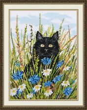 """Counted Cross Stitch Kit OVEN 931 - """"Cat in cornflower"""""""