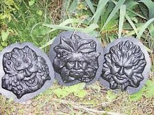 Green man face molds concrete plaster greenman set of 3 molds