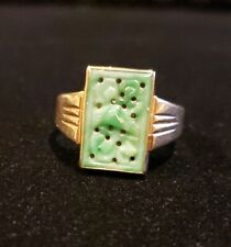 Antique 14 Kt Yellow Gold Carved Jade Ring Sz. 6.5  Wt. 3.8g