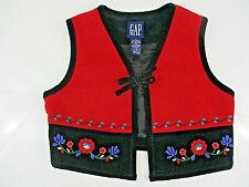 Vtg GAP Vest Womens Sz M Medium Red Black Flowers Embellished HOLIDAY Special