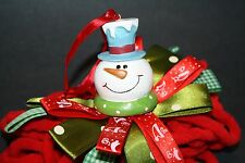 "SNOWMAN Chenille Christmas Tree Ornament 8"" Satin Ribbon Yarn Cord Gingham"