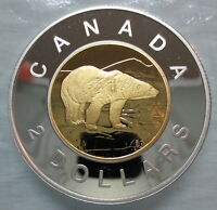 2002 CANADA TOONIE PROOF SILVER WITH 24K GOLD PLATED CORE TWO DOLLAR COIN