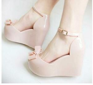 Women's Melissa Tops Bowtie Platform Wedge Ladies Buckle jelly Sandals Shoes