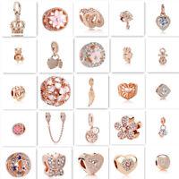 2018 hot 1pcs rose gold CZ European Charm Beads Fit 925 Necklace Bracelet Chain