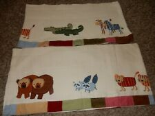 Set of 2 Kidsline Noah'S Ark Bears Raccoon Tigers Zebras Window Valances