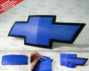 (2) Silverado Blue Carbon Fiber Chevy Bowtie Vinyl Sheets Emblem Overlay Wrap