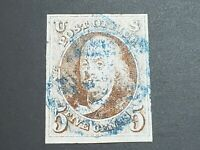 US Scott #1, USED Stamp with CERTIFICATE! BLUE CANCEL! SCV $385! MUST SEE! 👀