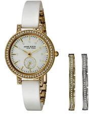 Anne Klein Women's 12/2248WTST Swarovski Crystal Accented White Bangle Watch