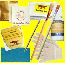 Gilding Kit 100 Gold Leaf Sheet 10ml Adhesive and Brush Nail Art Design Leaves