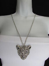 Women Silver Black Leopard Fashion Necklace Tiger Head Pendant Safari Jewelry