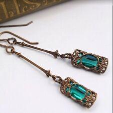 Unusual Dangle Drop Earrings Green Resin Stone & Gold Ethnic Vintage Jewellery