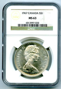 1967 $1 CANADA SILVER DOLLAR NGC MS63 FLYING GOOSE ON REVERSE - MS UNCIRCULATED