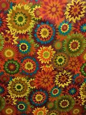ORANGE YELLOW MULTICOLOR Floral African Print 100% Cotton Fabric (44 in.) BTY