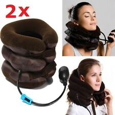 2x Easy Inflatable Cervical Support Cushion Neck Traction Head Pain Relief Brace