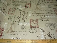 """~24 4/8 YDS~VILBER~""""POSTAL STAMPS WRITING""""~UPHOLSTERY FABRIC FOR LESS~SPAIN~"""