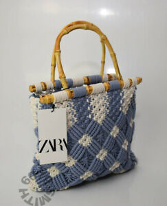 BNWT Zara Small Summer Crochet Bag With Bamboo Handles