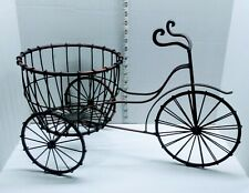Vintage Bronze  Rustic Steel Tricycle Bike Flower Pot Cart Plant Stand Holder