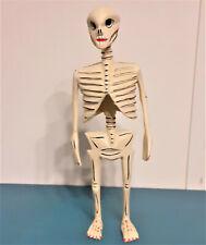 "MEXICO SKELETON Hand Carved Wood DAY OF DEAD or Halloween Vintage Folk Art 9.75"""