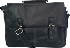 "UNICORN Real Leather 16.4"" Laptop Netbook Ultrabook Messenger Bag - Black #8L"