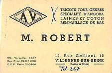 """78 VILLENNES-SUR-SEINE CARTE DE VISITE ROBERT STE """" AV """" TRICOTS LAINE COTON"""