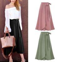 Women's Plus Size Boho High Waist Beach Wrap Maxi Split Skirt Summer Long Dress