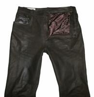 """ Canda "" Men's Leather Jeans/Leather Pants Black Braun Size 52 Approx. W35 "" /"