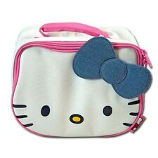 Lunch Bag Insulated HELLO KITTY Face Shape White Denim Bow Pink Handle NEW