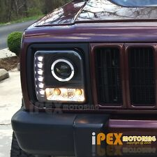 1997-2001 Jeep Cherokee Halo Projector LED Black Headlights W/ Signal Lights