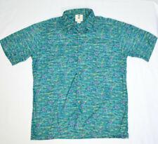 Kahala Swordfish Pattern Short Sleeve Hawaiian Aloha Button Front Shirt Mens L