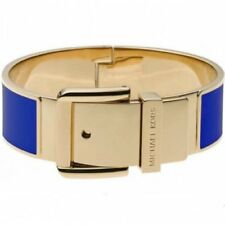 Michael Kors Gold Royal Blue Enamel Hinge Belt Buckle Bangle Bracelet Mkj2872