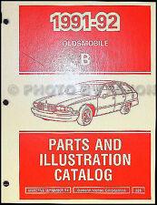1991-1992 Oldsmobile Custom Cruiser Parts Book Station Wagon Illustrated Catalog