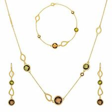 Silverly Gold Plated .925 Sterling Silver Green Gem Necklace Bracelet Earrings
