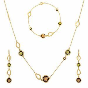 Silverly Gold Plated .925 Sterling Silver Green Gem Necklace Bracelet Earrings